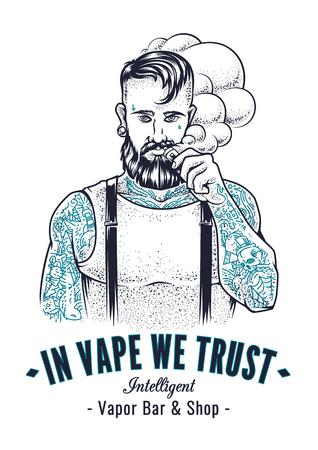 Ilustración de Vector art of brutal hipster with tattoos making vape cloud with e-cigarette. Monochrome vector illustration with typography In Vape We Trust. Placard design for vapor shop. - Imagen libre de derechos