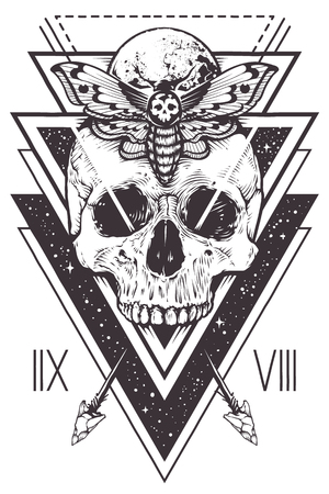 Illustration pour Vector boho design of skull with hawk moth and sacred geometric elements, arrows, hipster triangles, mystical symbols. - image libre de droit