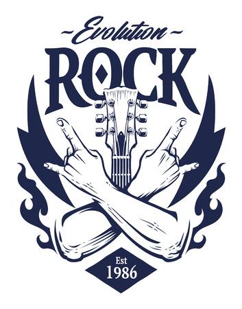Illustration pour Vector emblem with crossed hands sign rock n roll gesture, guitar neck and flames. Monochrome rock emblem template. - image libre de droit