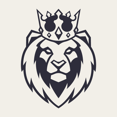 Illustration for Lion in crown looking danger. Lion head icon. Lion vector logo template. - Royalty Free Image