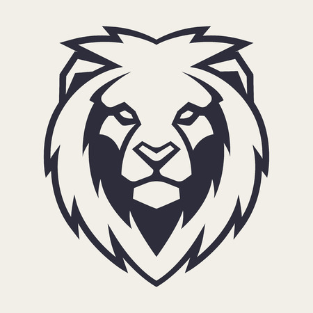 Ilustración de Lion looking danger. Lion head icon. Lion vector logo template. - Imagen libre de derechos