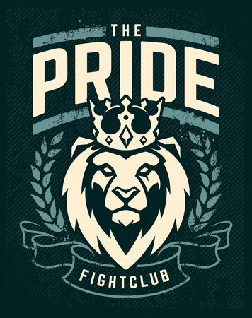 Illustration for Emblem design template with lion in crown looking danger. Grunge art with wreath and ribbon elements. Classic style. Vector print. - Royalty Free Image