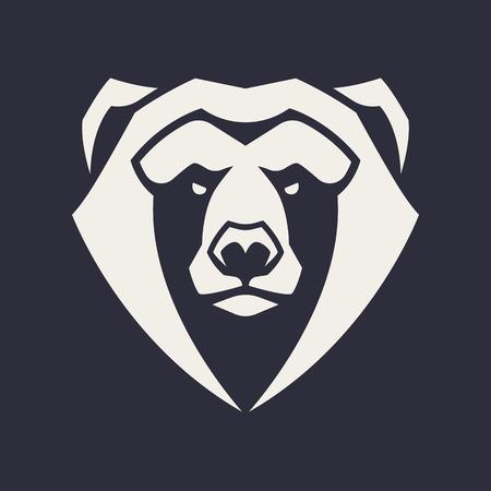 Illustration pour Bear mascot vector art. Frontal symmetric image of bear looking dangerous. Vector monochrome icon. - image libre de droit