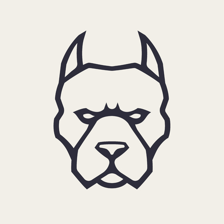 Illustration pour Pitbull mascot vector art. Frontal symmetric image of pitbull looking dangerous. Vector monochrome icon. - image libre de droit