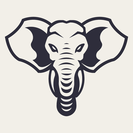 Ilustración de Elephant mascot vector art. Frontal symmetric image of elephant looking dangerous. Vector monochrome icon. - Imagen libre de derechos