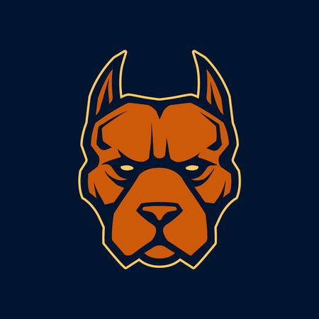 Illustration pour Pitbull mascot vector art. Frontal symmetric image of pitbull looking dangerous. Vector icon. - image libre de droit