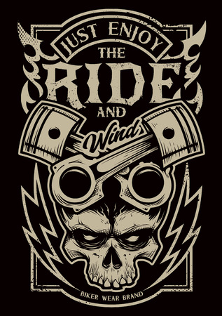 Illustration pour Tattoo style vector art with bike attributes: two crossed pistons, skull, fire and lightnings. Typography saying 'Just Enjoy the Ride'. Weathered grunge style print for bikers. - image libre de droit