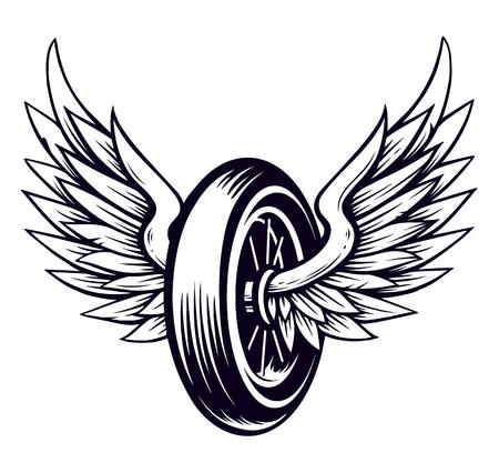 Ilustración de Vector Motorcycle Wheel with Wings isolated on white. Monochrome tattoo style symbol for bikers. - Imagen libre de derechos