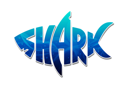 Ilustración de The word shark inscribed in shape of a shark filled of blue ocean water. Colorful shark logo. Vector shark lettering isolated on white. - Imagen libre de derechos