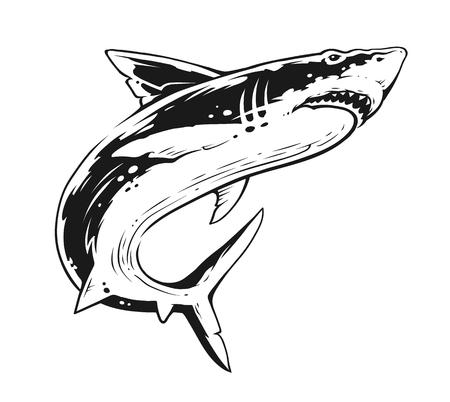 Illustration pour Shark in motion. Black and White Contrast Vector Art. - image libre de droit