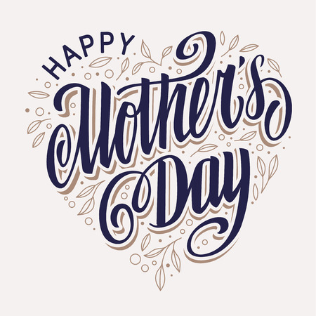Illustration pour Happy Mother's Day Lettering  in heart shape filled with leaves vintage design. Vector art. - image libre de droit