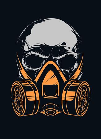 Illustration pour Skull in respirator on black background. Vector art. - image libre de droit