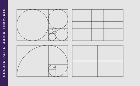 Golden Ratio Vector Design Template. Fibonacci golden ratio composition rule template. Black on grey.