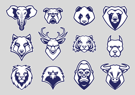 Ilustración de Animals Head Mascot Icons Vector Set. Different animals muzzles looking straight with aggressive mood. Vector icons set. - Imagen libre de derechos