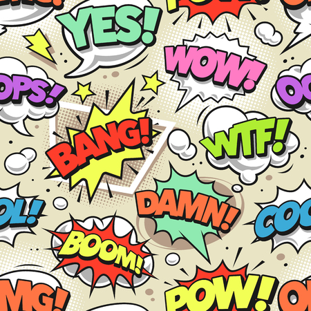 Illustration pour Retro comic speech bubbles with different tags seamless pattern. Vector pop art style endless background. - image libre de droit