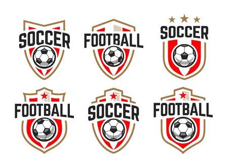 Illustration pour European football classic emblems vector set. - image libre de droit