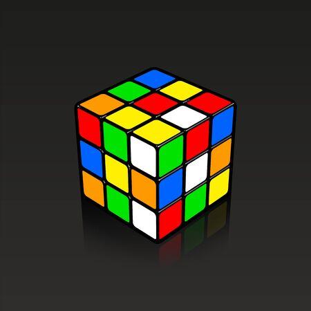 Illustration pour Mixed Rubic cube 3D illustration with little reflection on black background. - image libre de droit