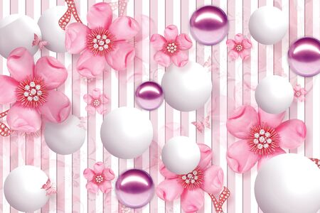 Photo pour 3D Wallpaper Design with Floral and Geometric Objects gold ball and pearls, gold jewelry wallpaper purple flower - image libre de droit