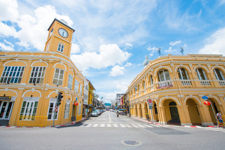 Photo pour Phuket, Thailand - October 12, 2017: Building with clock tower of Sino Portuguese architecture at Phuket Old Town, The chartered bank building, Phuket, Thailand - image libre de droit