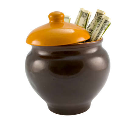 the US dollars in ceramics pot isolated with clipping path