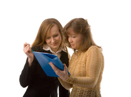 two young women with folder on white background