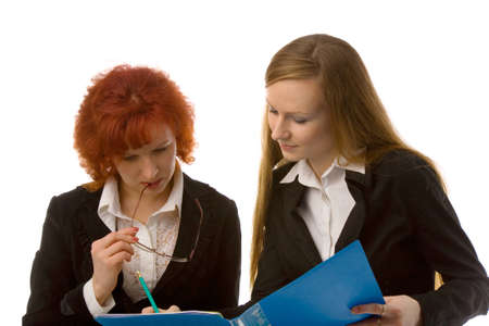 the two young women with folder on white background