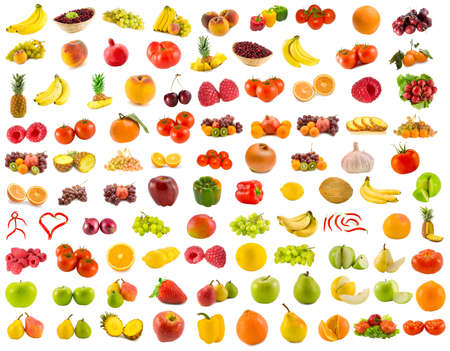 set from 96 various fruits, vegetables and berriesの写真素材