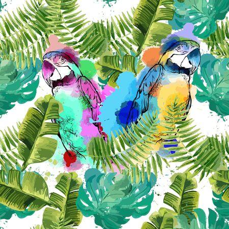 Illustration pour Exotic background with parrots and tropical leaves. - image libre de droit