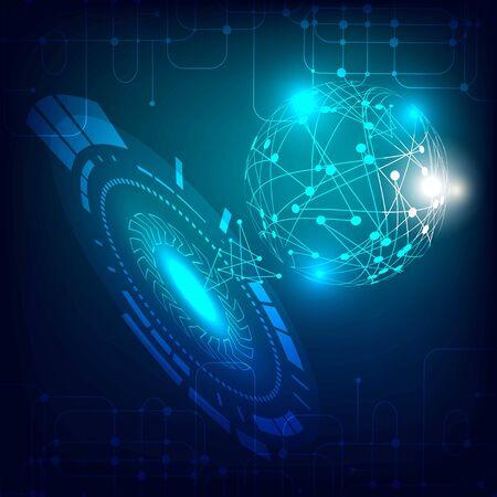 Ilustración de Futuristic head up display. Digital Network Connections. - Imagen libre de derechos