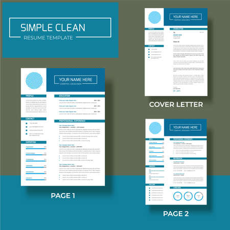 Illustration for Vector - Professional minimalist cv/resume template design two pages A4 size - Royalty Free Image