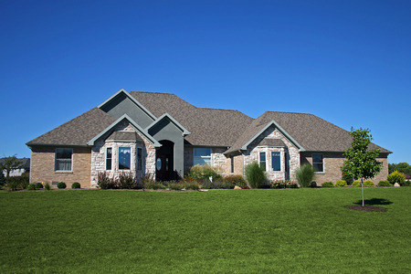 brick ranch with stone accents