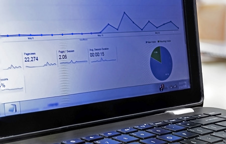 Showing a graph on a laptop screen