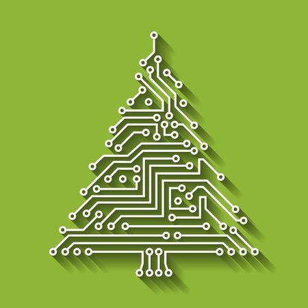 Ilustración de Electronic Circuit Christmas Tree, Happy New Year - Imagen libre de derechos