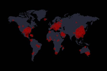Covid-19, Covid 19 map confirmed cases report worldwide globally. Coronavirus disease 2019 situation update worldwide. Maps show where the coronavirus has spread, graphic on dark grey background.