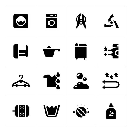 Set icons of laundry isolated on white