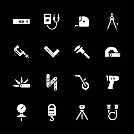 Set icons of measuring tools isolated on black