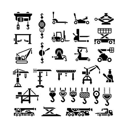 Ilustración de Set icons of lifting equipments, cranes, winches and hooks isolated on white - Imagen libre de derechos