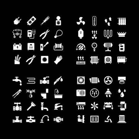 House system icons. Set icons of electricity, heating, plumbing, ventilation isolated on black