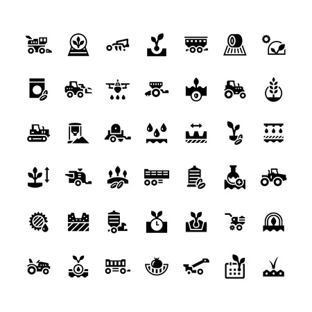 Set icons of agriculture isolated on whiteのイラスト素材
