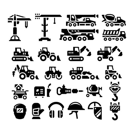 Set icons of construction equipment isolated on white