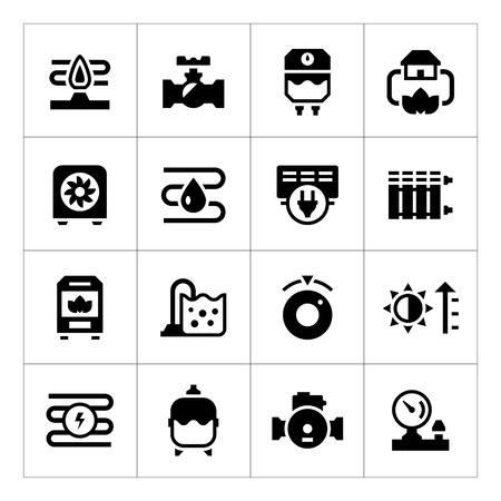 Set icons of heating isolated on white