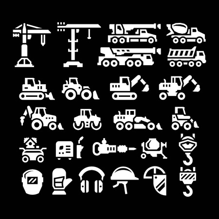 Photo for Set icons of construction equipment isolated on black - Royalty Free Image