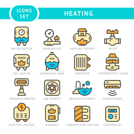 Set line icons of heating isolated on white