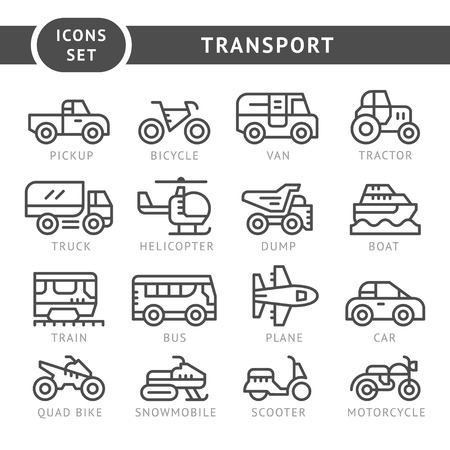 Set line icons of transport isolated on white. Vector illustration