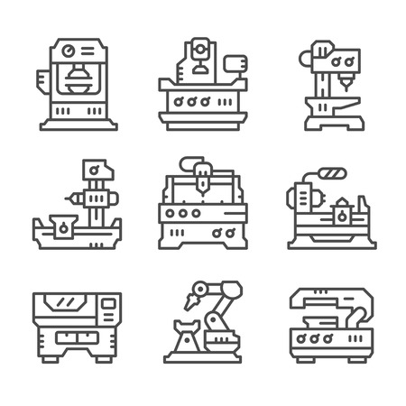 Illustration for Set line icons of machine tool isolated on white. Vector illustration - Royalty Free Image