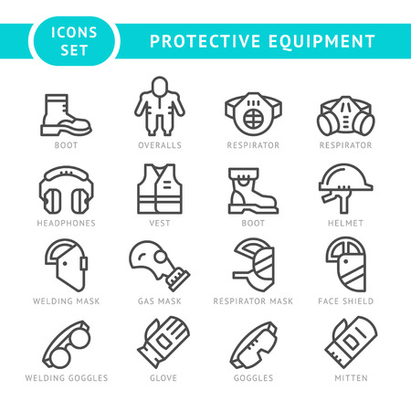 Illustration pour Set line icons of protecting equipment isolated on white. Vector illustration - image libre de droit