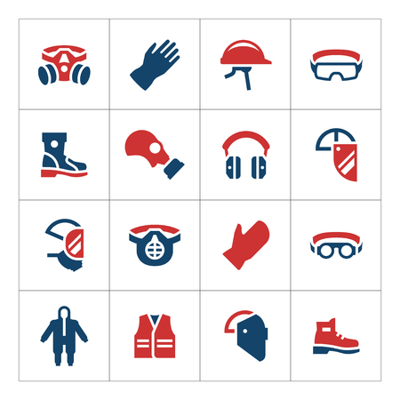 Set color icons of personal protective equipment isolated on white. Vector illustration