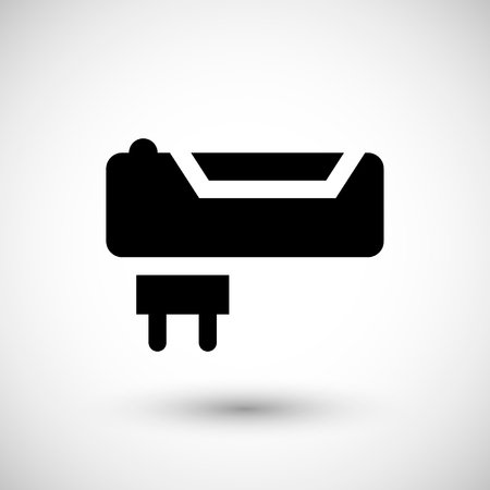Battery charger icon isolated on grey