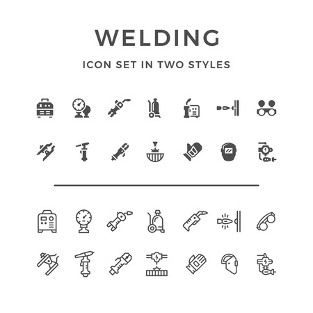 Set icons of welding in two styles isolated on white. Vector illustrationのイラスト素材