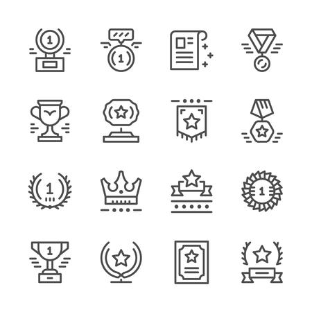 Ilustración de Set line icons of award - Imagen libre de derechos